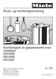 Bruks- og monteringsanvisning Komfyrtopper av glasskeramikk med ...