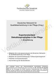 Expertenstandard Dekubitusprophylaxe in der Pflege 1 ... - Aloom