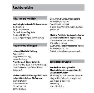 Fachbereiche - Tuberöse Sklerose Deutschland eV