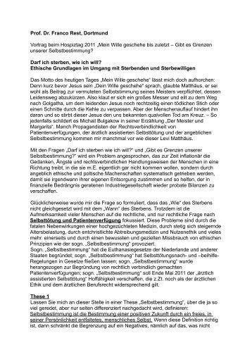 """Prof. Dr. Franco Rest, Dortmund Vortrag beim Hospiztag 2011 """"Mein ..."""