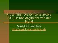 Das Argument von der Moral - Daniel von Wachter