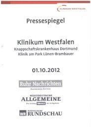 Pressespiegel 01.10.2012 - Knappschaftskrankenhaus Dortmund