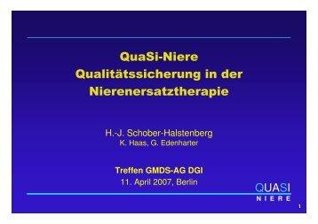 QuaSi-Niere Qualitätssicherung in der Nierenersatztherapie