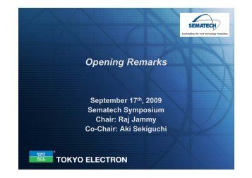 Opening Remarks - Sematech