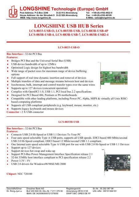 LONGSHINE LCS-8033H USB NEC CHIP WINDOWS 10 DRIVER