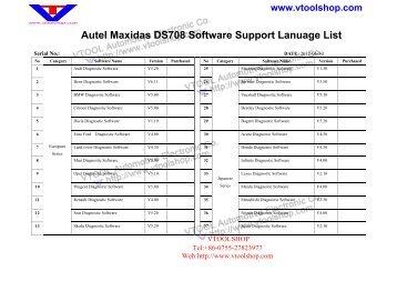 DS708 Software List Other Languages.pdf - Car Diagnostic Tool