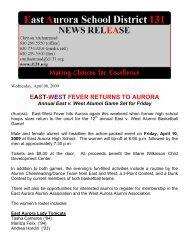 east-west fever returns to aurora - East Aurora School District #131