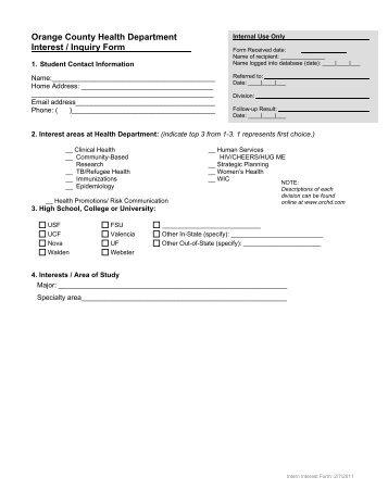 Orange County Health Department Interest / Inquiry Form