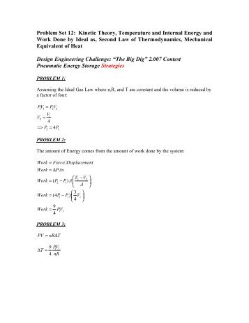 Problem Set 12: Kinetic Theory, Temperature and Internal Energy ...