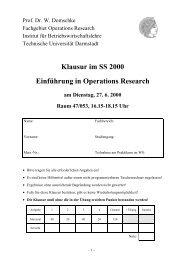 Klausur im SS 2000 Einführung in Operations Research