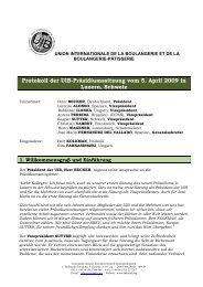 Protokoll der UIB-Präsidiumssitzung vom 5. April 2009 ... - Uibaker.org