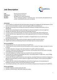 Job description - Business Tourism Executive - Visit Cardiff