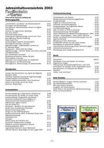 Jahresinhaltsverzeichnis 2003
