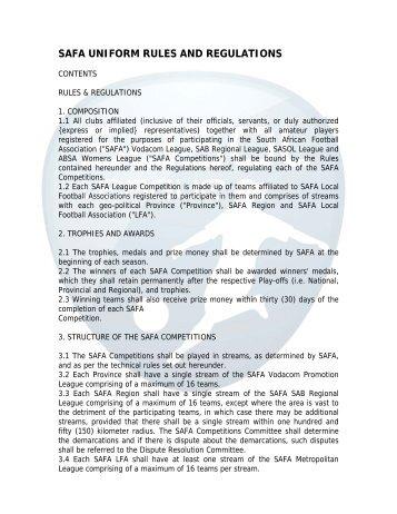 Rules & Regulations - South African Football Association