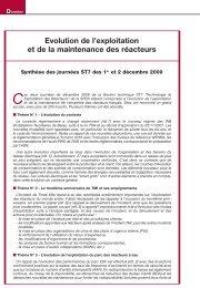 Evolution de l'exploitation et de la maintenance des réacteurs - Sfen