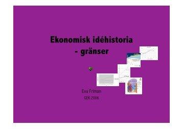 Ekonomisk idéhistoria - gränser