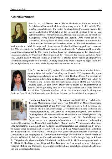 Autorenverzeichnis - Institut für Produktion und Industrielles ...