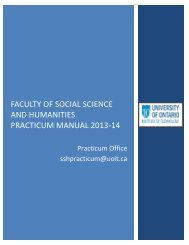 Faculty of Social Science and Humanities - University of Ontario ...