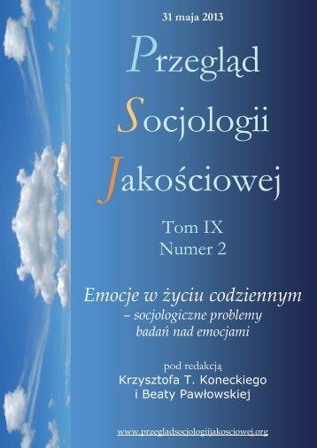 Tom IX Numer 2 Emocje w życiu codziennym - Qualitative Sociology ...