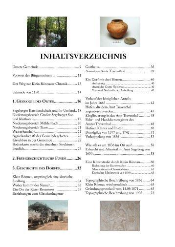 Inhaltverzeichnis »860 Jahre Klein Rönnau - Epv-Verlag