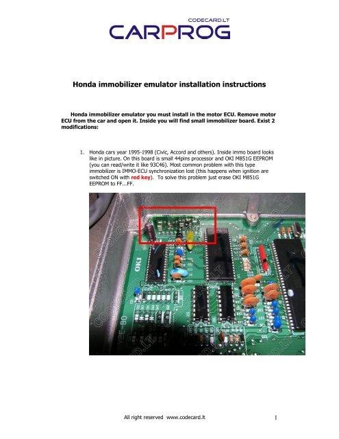 Honda immobilizer emulator installation instructions - noimmo