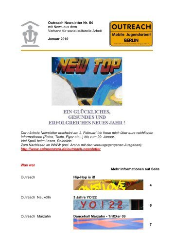Outreach Newsletter Nr. 54 mit News aus dem ... - Spinnenwerk