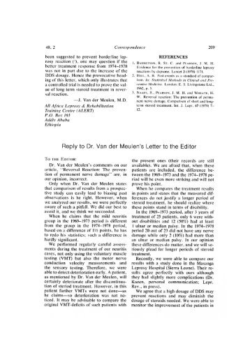 Reply to Dr. Van der Meulen's Letter to the Editor