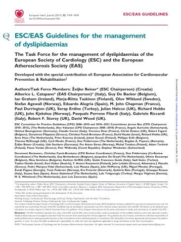 ESC/EAS Guidelines for the management of dyslipidaemias