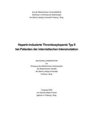 Heparin-induzierte Thrombozytopenie Typ II bei Patienten der ...