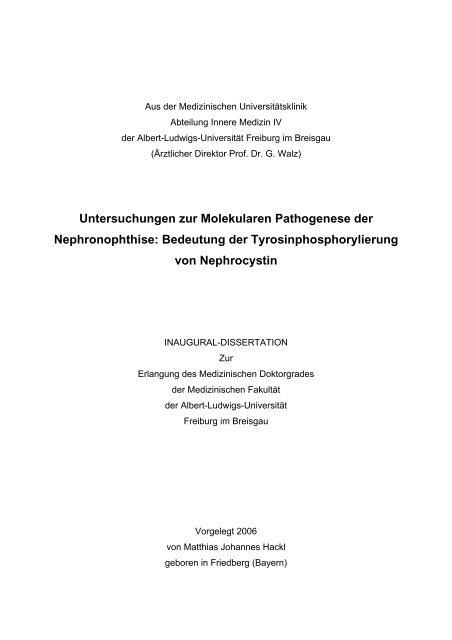 Untersuchungen zur Molekularen Pathogenese der Nephronophthise