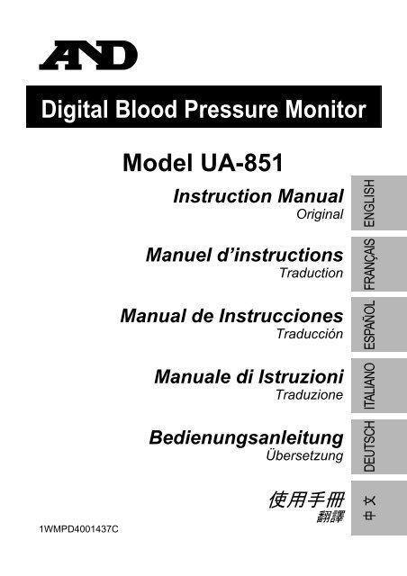Digital Blood Pressure Monitor Model UA-851 Instruction Manual ...