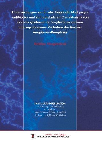 Untersuchungen zur in vitro Empfindlichkeit gegen Antibiotika und ...