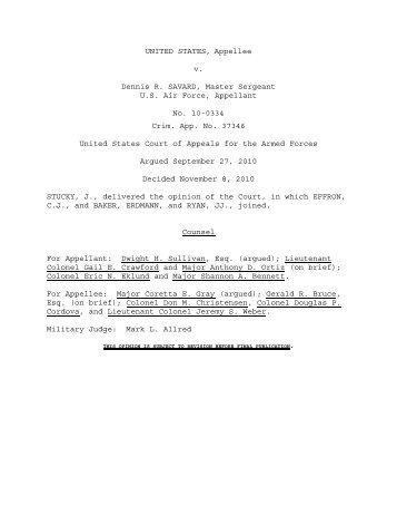 United States v. Savard, No. 10-0334/AF - U.S. Court of Appeals for ...