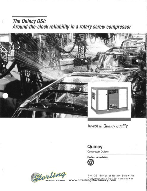 Quincy QSI Rotary Screw Air Compressor Brochure - Sterling