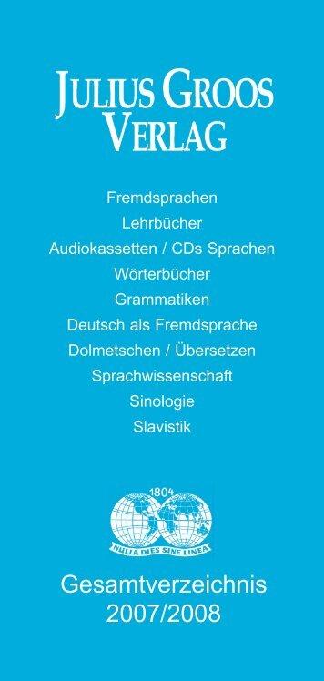 Gesamtverzeichnis 2007/2008 - Stauffenburg Verlag