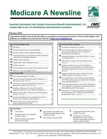 February 2012 Medicare A - Cahaba GBA
