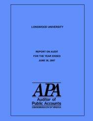 2007 - Virginia Auditor of Public Accounts - Commonwealth of Virginia