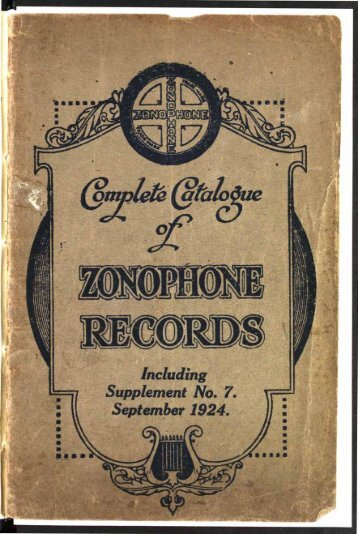 Complete Catalogue of Zonophone Records 1924 - British Library ...