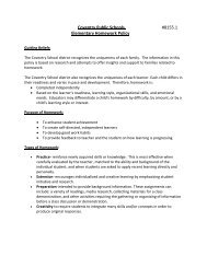 Coventry Public Schools #8155.1 Elementary Homework Policy