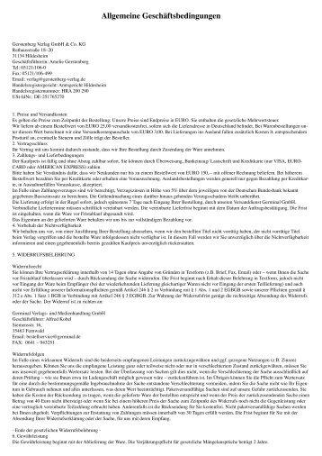 Allgemeine Geschäftsbedingungen - Gerstenberg Verlag