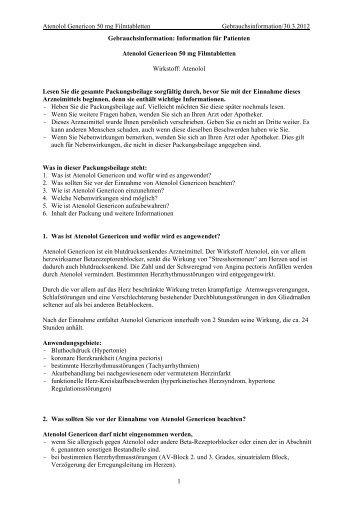 Atenolol Genericon 50 mg Filmtabletten Gebrauchsinformation/30.3 ...