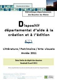 Dispositif départemental d'aide à la création et à l'édition (année 2011)