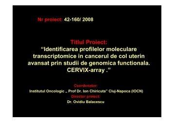 Identificarea profilelor moleculare transcriptomice in cancerul de col ...