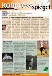 XVII. Tagung über Pferdekrankheiten im Rahmen der EQUITANA