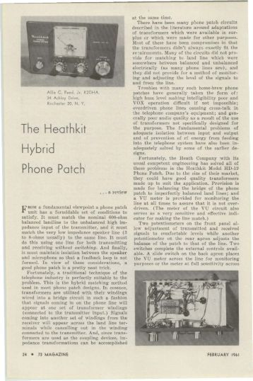 The Heathkit Hybrid Phone Patch' - Nostalgic Kits Central