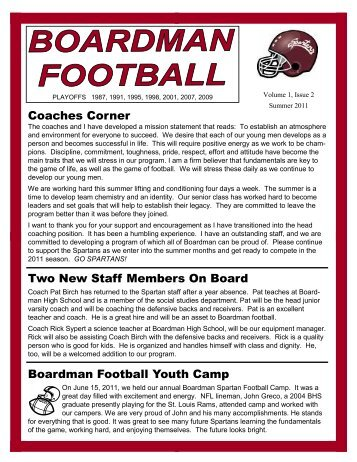 Boardman Football Youth Camp Two New Staff Members On Board ...