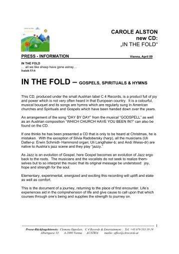IN THE FOLD--GOSPELS; SPIRITUALS & HYMNS - Carole Alston