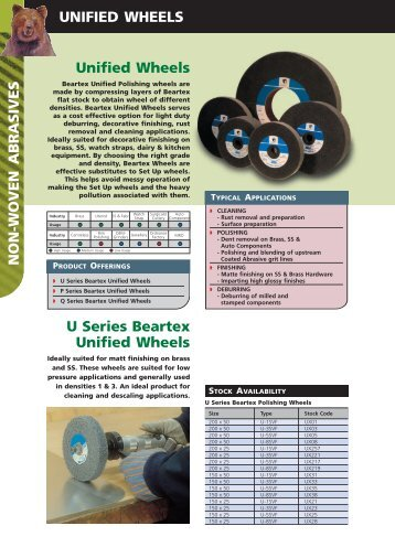 Unified Wheels UNIFIED WHEELS U Series ... - Grindwell Norton
