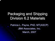 Packaging and Shipping Division 6.2 Materials