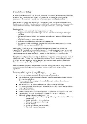 Wszechstronne Uslugi - PML Accounting